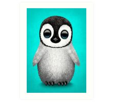 Cute Baby Penguin on Blue Art Print