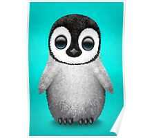 Cute Baby Penguin on Blue Poster