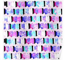 Girly Watercolor Brush Stroke Stripes Poster