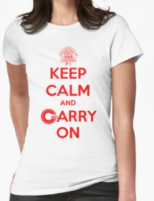 Keep Calm Carry On Calgary Red Womens Fitted T-Shirt