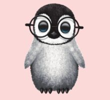 Cute Baby Penguin Wearing Eye Glasses on Blue Kids Clothes