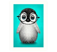 Cute Baby Penguin Wearing Eye Glasses on Blue Art Print