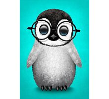 Cute Baby Penguin Wearing Eye Glasses on Blue Photographic Print