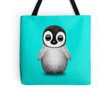 Cute Baby Penguin on Blue Tote Bag