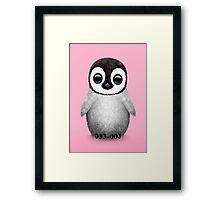 Cute Baby Penguin on Pink Framed Print