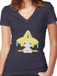 Jirachi Pokemon Simple No Borders Women's Fitted V-Neck T-Shirt