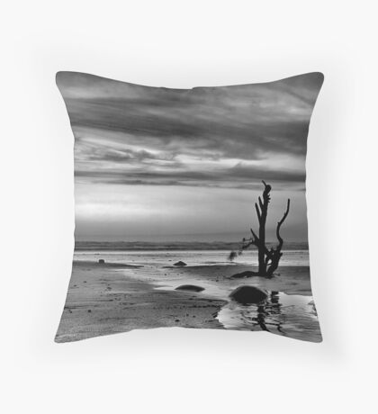 B/W stick in the sand Throw Pillow
