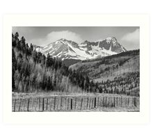 Valley and Rocky Mountains in Black and White Art Print