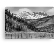 Valley and Rocky Mountains in Black and White Canvas Print