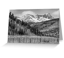 Valley and Rocky Mountains in Black and White Greeting Card