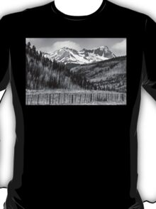 Valley and Rocky Mountains in Black and White T-Shirt