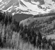 Valley and Rocky Mountains in Black and White Sticker