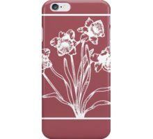 Marsala and White Daffodil Design iPhone Case/Skin