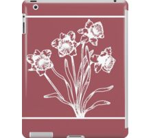 Marsala and White Daffodil Design iPad Case/Skin