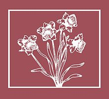 Marsala and White Daffodil Design by Greenbaby