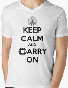 Keep Calm Carry On Calgary Black Mens V-Neck T-Shirt
