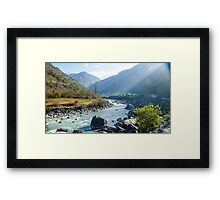 Sun rays in the himalayas Framed Print
