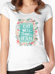 Eat Well, Travel Often – Bouquet Women's Fitted Scoop T-Shirt