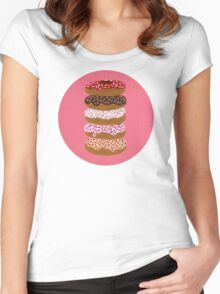 Donuts Stacked on Cherry Women's Fitted Scoop T-Shirt