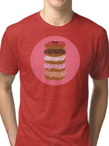 Donuts Stacked on Cherry Tri-blend T-Shirt