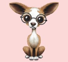 Cute Curious Chihuahua Wearing Eye Glasses Pink Kids Clothes