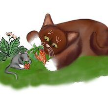 Strawberries for Mouse and Kitten by NineLivesStudio