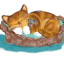 Kitten and Mouse Nap in the Cat Basket by NineLivesStudio