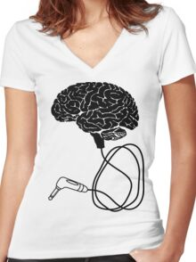 DJ Brain With Headpones and Phono Jack Women's Fitted V-Neck T-Shirt