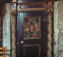 Door at side of nave St Mary's Bergen Norway 198406130017 by Fred Mitchell