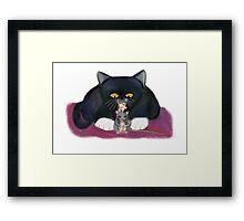 Mouse and Kitten Nibble on Popcorn Framed Print
