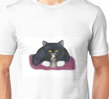 Mouse and Kitten Nibble on Popcorn Unisex T-Shirt