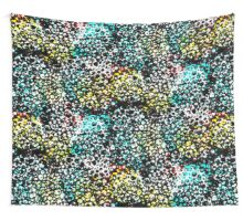 Abstract in Aqua, Yellow and Black Net Desgin Wall Tapestry