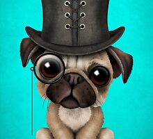 Cute Pug Puppy with Monocle and Top Hat on Blue by Jeff Bartels