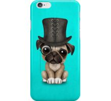 Cute Pug Puppy with Monocle and Top Hat on Blue iPhone Case/Skin