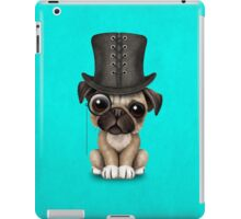 Cute Pug Puppy with Monocle and Top Hat on Blue iPad Case/Skin