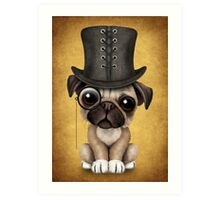 Cute Pug Puppy with Monocle and Top Hat on Yellow Art Print