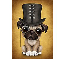 Cute Pug Puppy with Monocle and Top Hat on Yellow Photographic Print