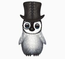 Cute Baby Penguin with Monocle and Top Hat on Pink T-Shirt