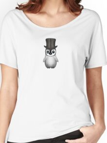 Cute Baby Penguin with Monocle and Top Hat on Pink Women's Relaxed Fit T-Shirt