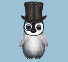 Cute Baby Penguin with Monocle and Top Hat on Blue One Piece - Short Sleeve