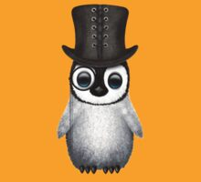 Cute Baby Penguin with Monocle and Top Hat on Yellow T-Shirt