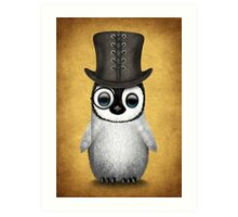 Cute Baby Penguin with Monocle and Top Hat on Yellow Art Print