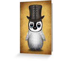 Cute Baby Penguin with Monocle and Top Hat on Yellow Greeting Card