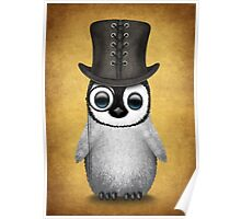 Cute Baby Penguin with Monocle and Top Hat on Yellow Poster
