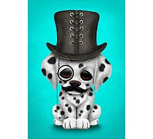 Cute Dalmatian Puppy with Monocle and Top Hat on Blue Photographic Print