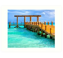 Deserted Caribbean Sea Pier - Playa del Carmen Art Print