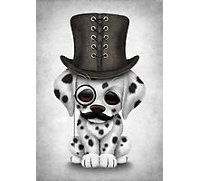 Cute Dalmatian Puppy with Monocle and Top Hat  Photographic Print