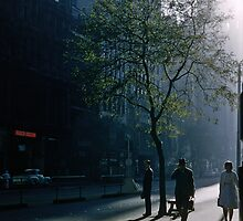 Early morning Collins Street 195701 by Fred Mitchell