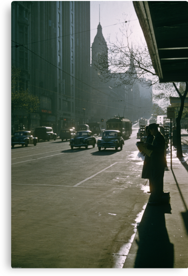 Looking East Early Morning Collins Street Melbourne 1975 by Fred Mitchell