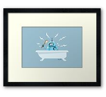 Robot in the bath Framed Print